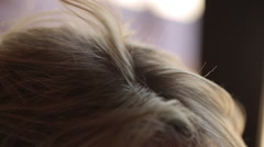 Close-up of a hairdresser straightening long hair with hair irons. Stock Footage