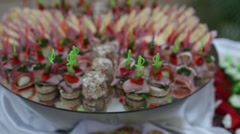 Set of tasty canape for an event party Stock Footage