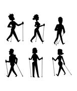 Nordic walking sport vector people Stock Illustration