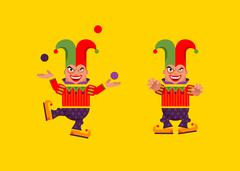 Illustration a jester character for halloween in  flat style Stock Illustration