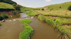 Sunning view alongside a slow river in lush green grass Stock Footage