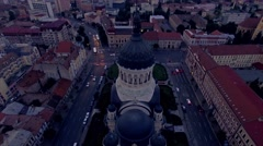 Vertical aerial view of cathedral in the city, Cluj Napoca Stock Footage