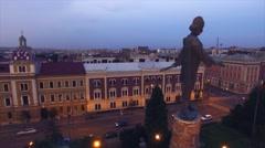 Aerial view of Avram Iancu statue, Cluj Napoca Stock Footage