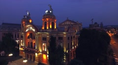 Aerial view of  Lucian Blaga National Theatre building in Cluj Napoca Stock Footage