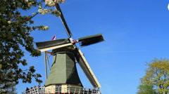 Windmill in the park Keukenhof. Stock Footage