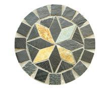Circle Mosaic stone pattern on white background Stock Photos