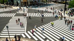 Tokyo -Elevated view of junction with traffic and people on crosswalk. Ginza.4K Stock Footage