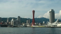 View of Kobe bay with Port Tower. 4K resolution. Stock Footage