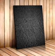 Black sand stone in wooden room,mock up for your content Stock Photos