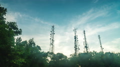 Telco tower timelapse in night til morning Stock Footage