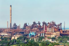 Industrial landscape. Steel factory. Heavy industry in Europe Kuvituskuvat