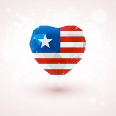 Flag of Liberia in shape diamond glass heart. Triangulation style Stock Illustration