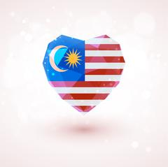 Flag of Malaysia in shape diamond glass heart. Triangulation style Stock Illustration