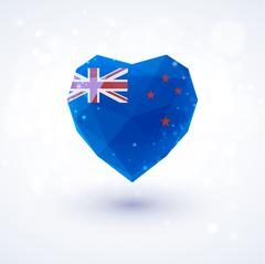New Zealand flag in shape diamond glass heart. Triangulation style Stock Illustration