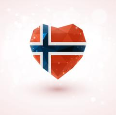 Norwegian flag in shape diamond glass heart. Triangulation style Stock Illustration