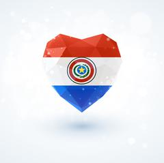 Flag of Paraguay in shape diamond glass heart. Triangulation style Stock Illustration