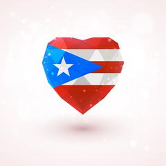 Flag of Puerto Rico in shape diamond glass heart. Triangulation style Stock Illustration