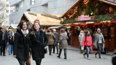 Nice Christmas fair at Munich Kaufinger strasse. shopping mile. Stock Footage