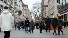 Christmas fair at Munich Kaufinger street Stock Footage
