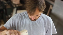 Worker works in the workshop Stock Footage
