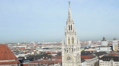 Aerial View over Munich Marienplatz at December. Christmas Fair Stock Footage