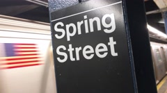Subway Train Leaves the Spring Street Station Stock Footage