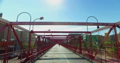 POV Perspective Williamsburg Bridge Pedestrian Sidewalk Stock Footage