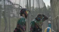 Paintballplayer on the Sideline Stock Footage