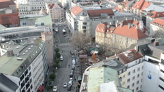 Aerial view over the Rindermarkt road at Munich. Stock Footage
