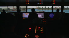 People practicing on the ship maneuvering simulator. Port of Kaohsiung, Taiwan. Stock Footage