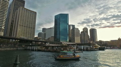 Beautiful tracking cityscape at Circular Quay in Sydney, Australia Stock Footage