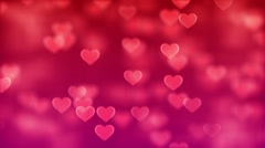 Animated motion background video - Pink hearts valentine Stock Footage