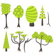 Vector tree clip art nature set Stock Illustration