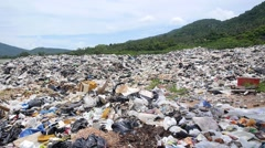 Landfill Site or Garbage Dump Causes Pollution and Ecological Disaster Stock Footage