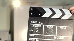 Film Slate Board Being Clapped. Slow Motion. Stock Footage