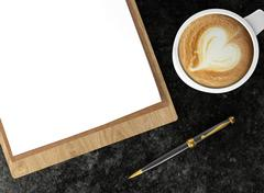 Cappuccino coffee cup with blank papers on clipboard and ballpoint pen Stock Illustration
