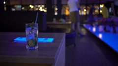 Glass Of Mojito Is On The Table In Bowling Club Stock Footage