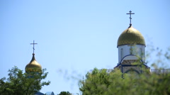 Church on blue sky background Stock Footage