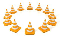Traffic cone 3D arranged in circular form Stock Illustration