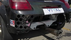 Exhaust from the race car Stock Footage