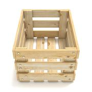 Empty wooden crate. Front view. 3D Stock Illustration