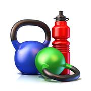 Red plastic sport bottles and kettle bells weight Stock Illustration