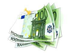 Pinned one hundred euros bills on white background. 3D Stock Illustration