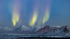 Aurora Borealis over the Arctic glacier landscape  (4K) Stock Footage