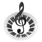 Treble clef in abstract piano keyboard. Symbol of music. 3D Stock Illustration