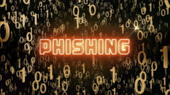Golden Phishing concept with digital code Stock Footage