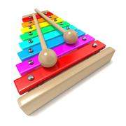 Xylophone with rainbow colored keys and with two wood drum sticks. 3D Piirros