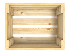 Empty wooden crate. Top view. 3D Stock Illustration