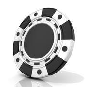Black gambling chip. 3D Stock Illustration