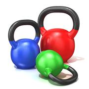Red, green and blue kettle bells weights isolated on a white background. 3D Stock Illustration